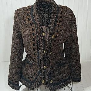 BCBG Maxazria Woolblend Sweater Small Brn/Blk